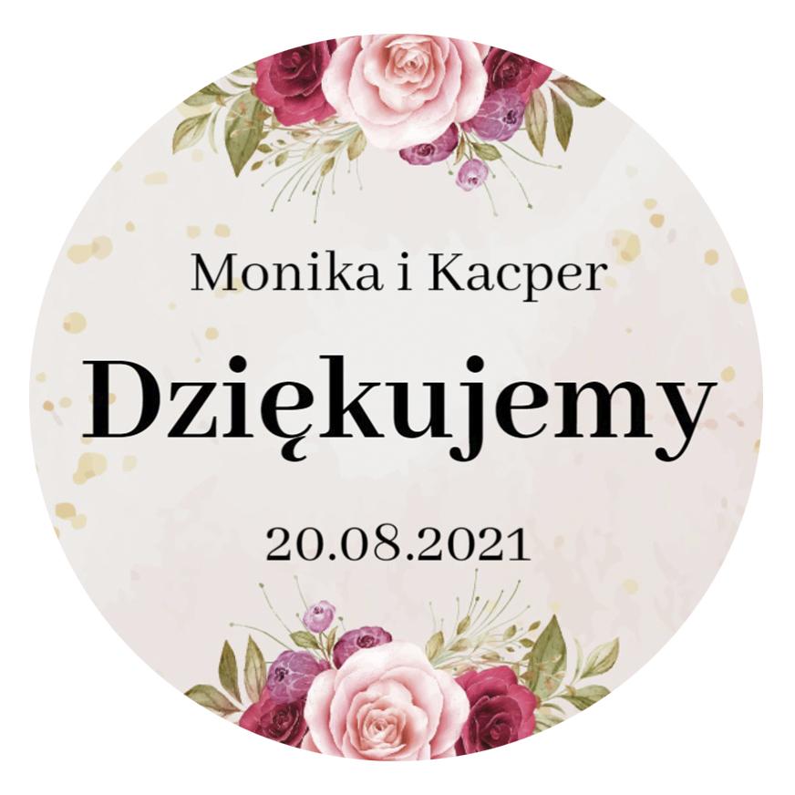 Okrągłe magnesy podziękowania dla gości weselnych z imionami motyw różany