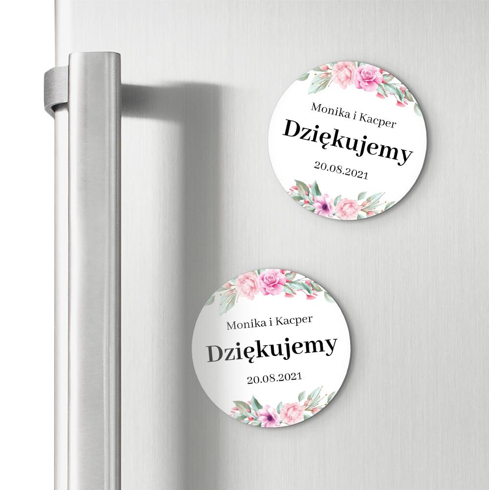 Okrągłe magnesy podziękowania dla gości weselnych z imionami kwiatowe glamour