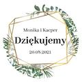 Okrągłe magnesy podziękowania dla gości weselnych z imionami geometryczne rystykalne liście zielone złote