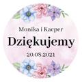 Okrągłe magnesy podziękowania dla gości weselnych z imionami kwiatowe kolorowe