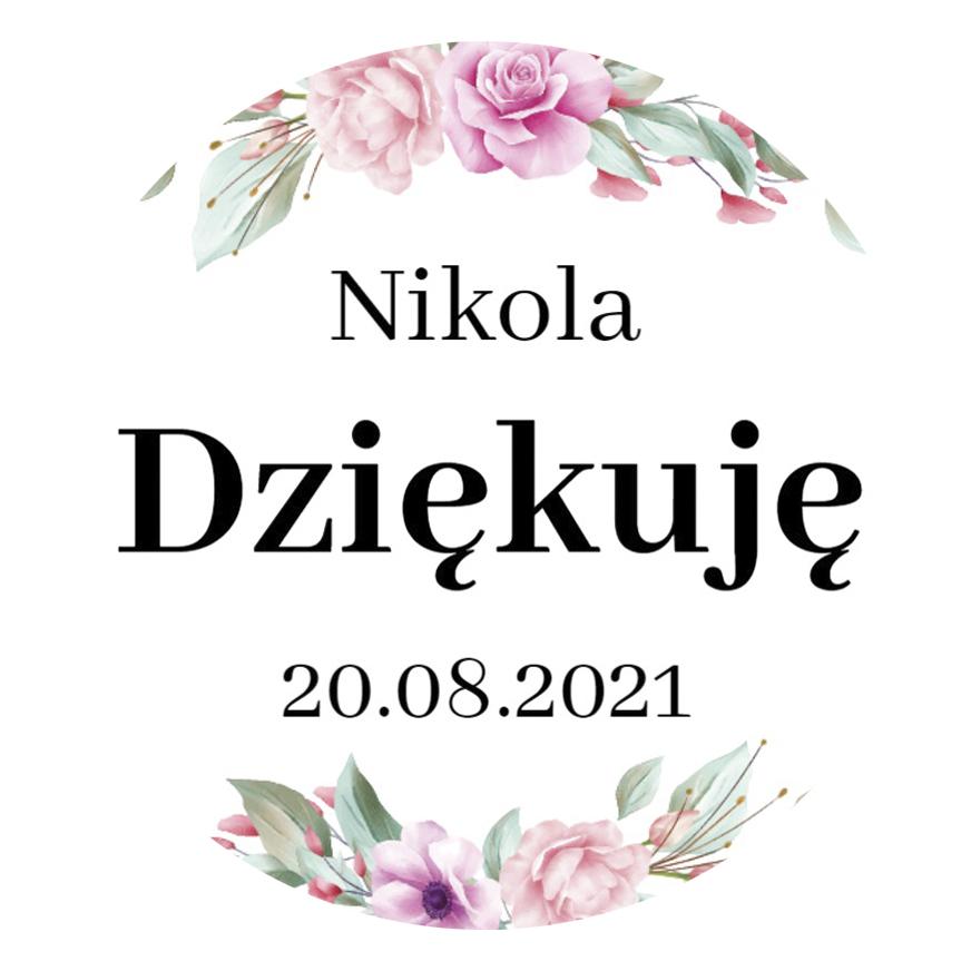 Okrągłe magnesy podziękowania dla gości na komunię z imieniem kwiatowe róż