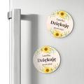Okrągłe magnesy podziękowania dla gości na roczek z imieniem kwiatowe słoneczniki