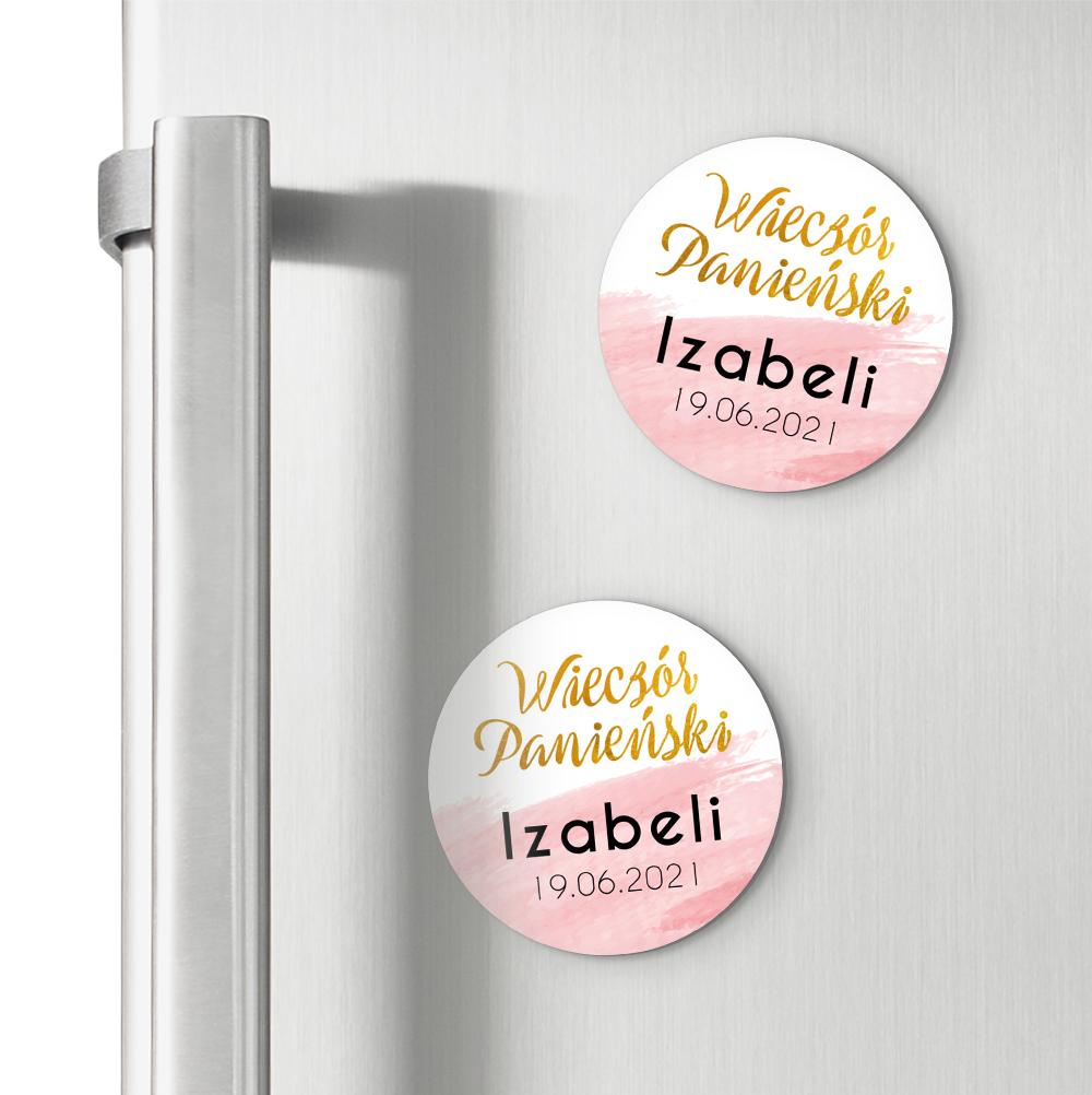 Okrągłe magnesy podziękowania dla gości na wieczór panieński złote różowe glamour