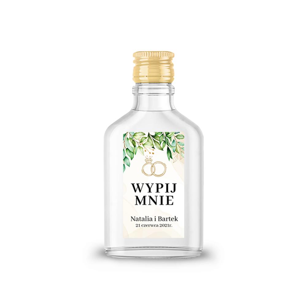 Naklejki etykiety samoprzylepne personalizowane na nalewki bimber alkohol wódkę weselną rustykalne zielone liście