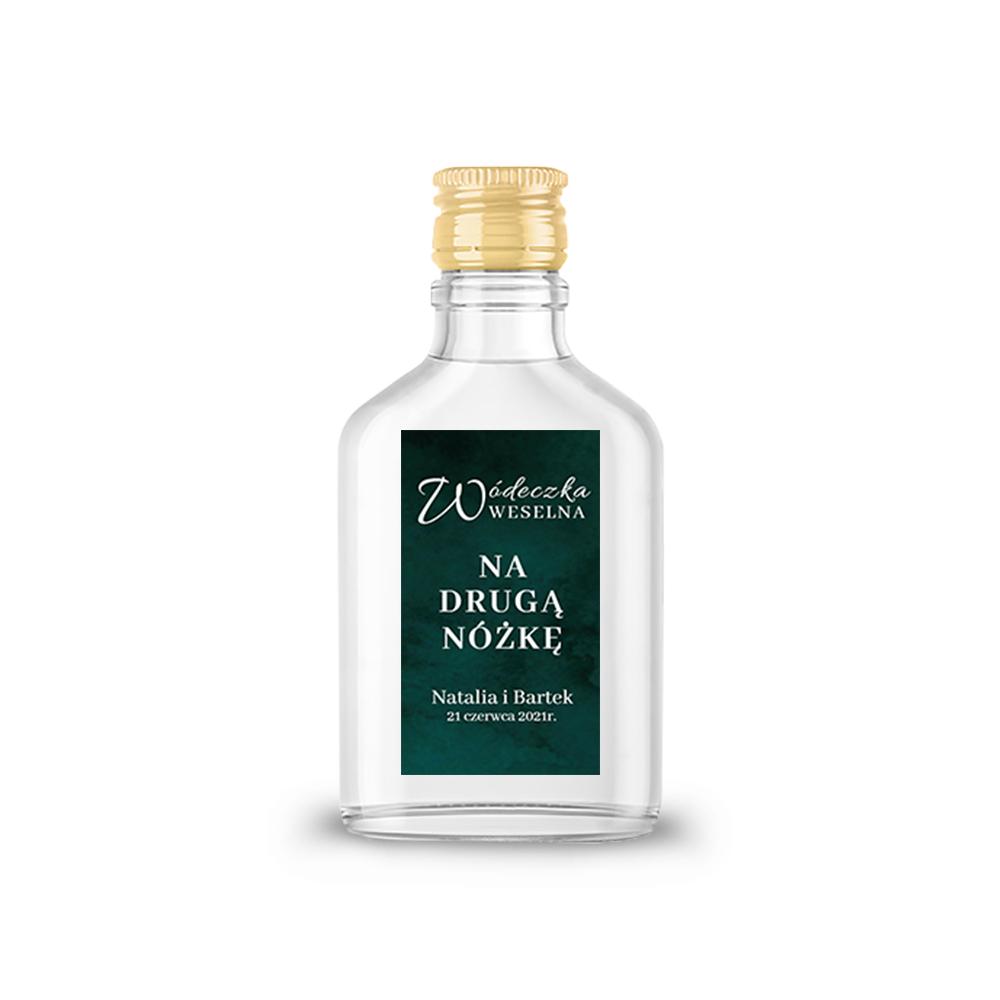 Naklejki etykiety samoprzylepne personalizowane na nalewki bimber alkohol wódkę weselną butelkowa zieleń