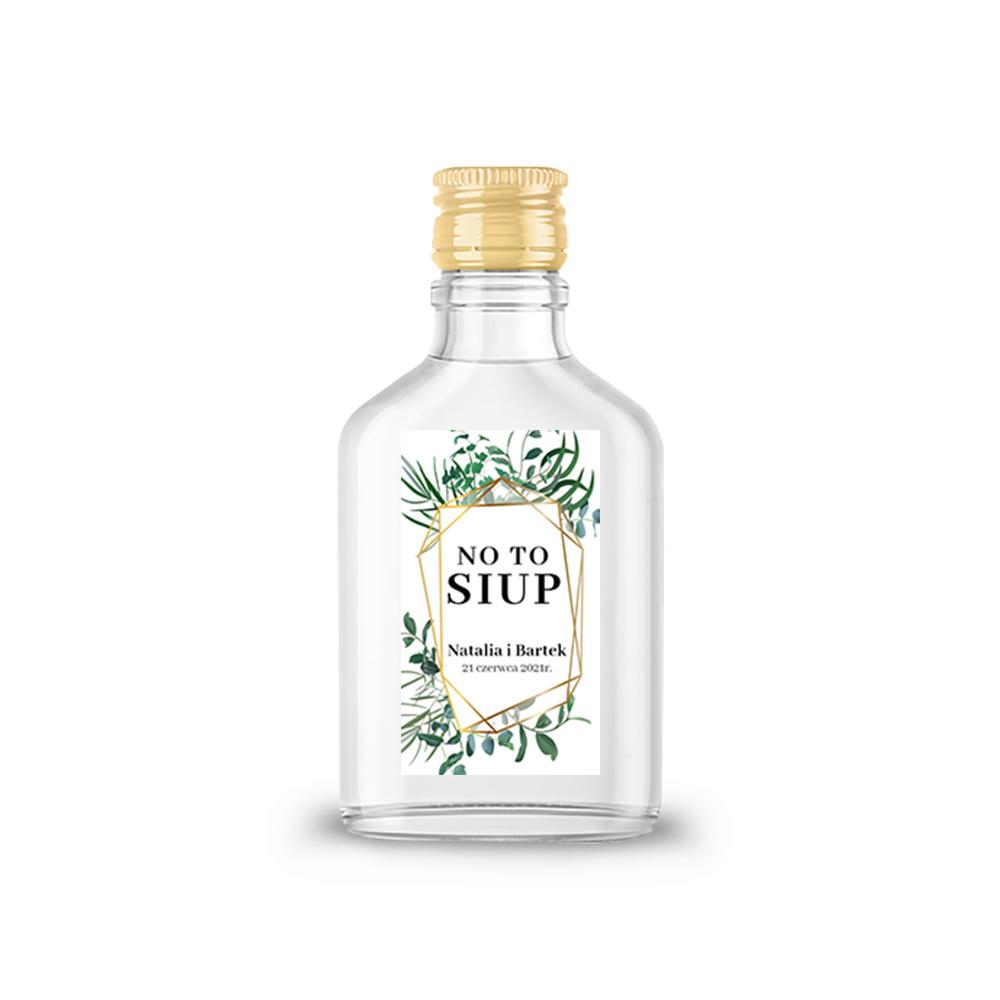 Naklejki etykiety samoprzylepne personalizowane na nalewki bimber alkohol wódkę weselną rustykalne liście zielone złote