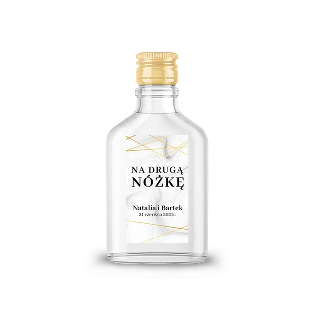 Naklejki etykiety samoprzylepne personalizowane na nalewki bimber alkohol wódkę weselną geometryczne złote glamour