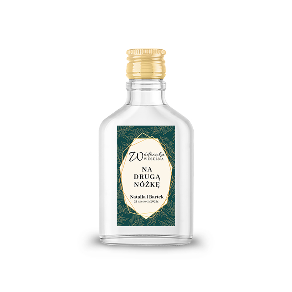 Naklejki etykiety samoprzylepne personalizowane na nalewki bimber alkohol wódkę weselną złote glamour butelkowa zieleń