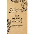 Naklejki etykiety samoprzylepne personalizowane na nalewki bimber alkohol wódkę weselną eco liście