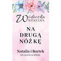 Naklejki etykiety samoprzylepne personalizowane na nalewki bimber alkohol wódkę weselną kolorowe kwiaty