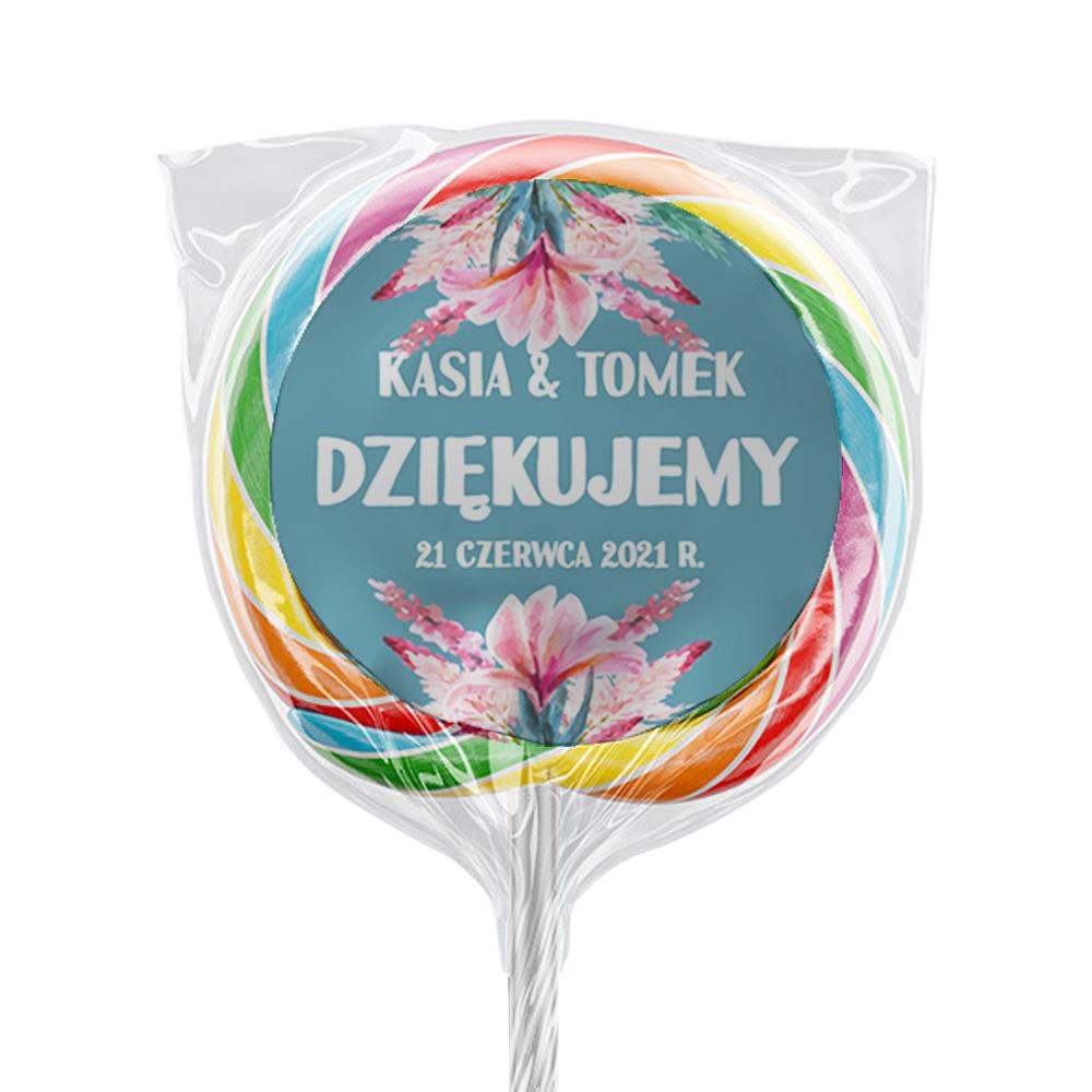 Naklejki na lizaki etykiety samoprzylepne na ślub z imionami podziękowania dla gości zielone pastelowe kwiaty