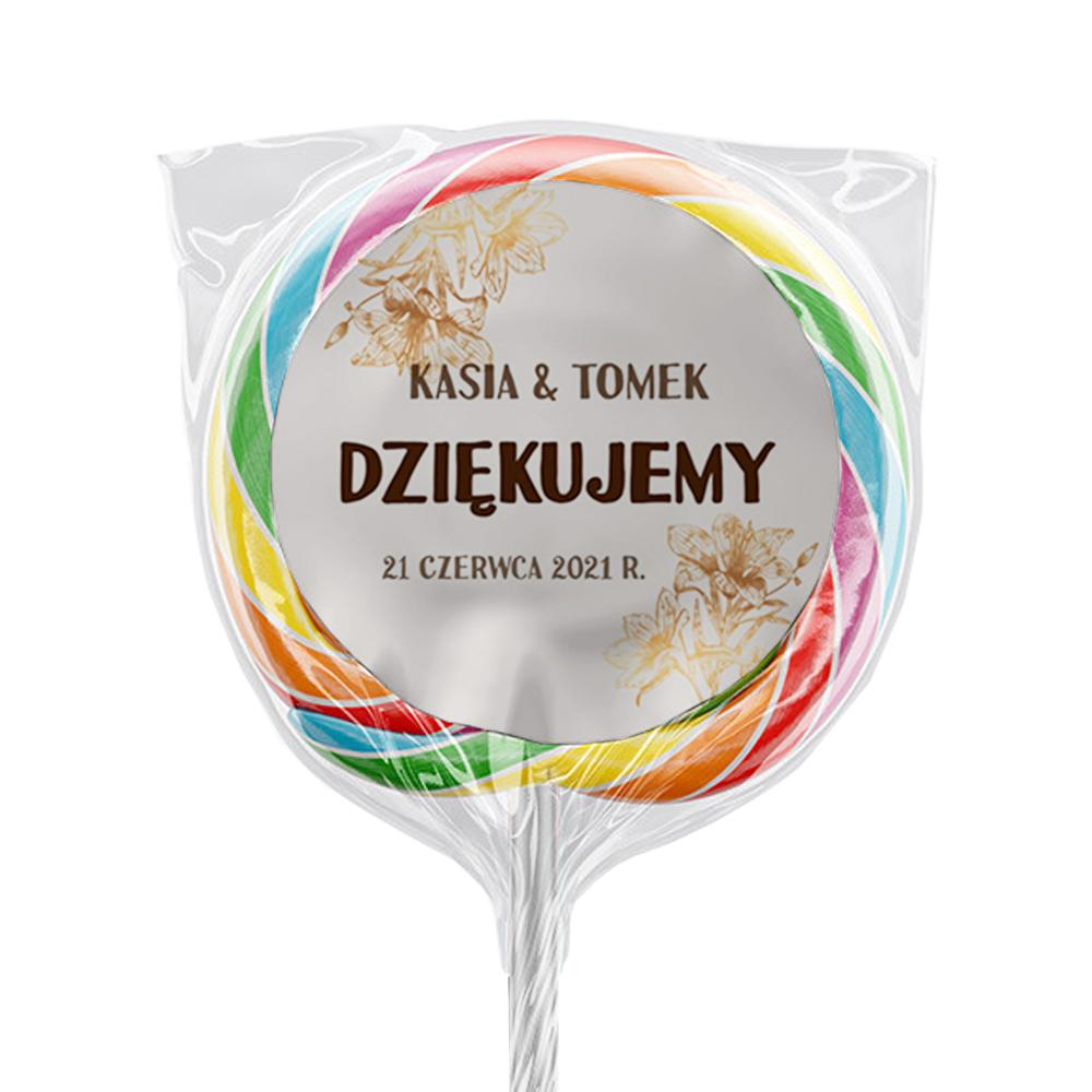 Naklejki na lizaki etykiety samoprzylepne na ślub z imionami podziękowania dla gości złote kwiaty glamour