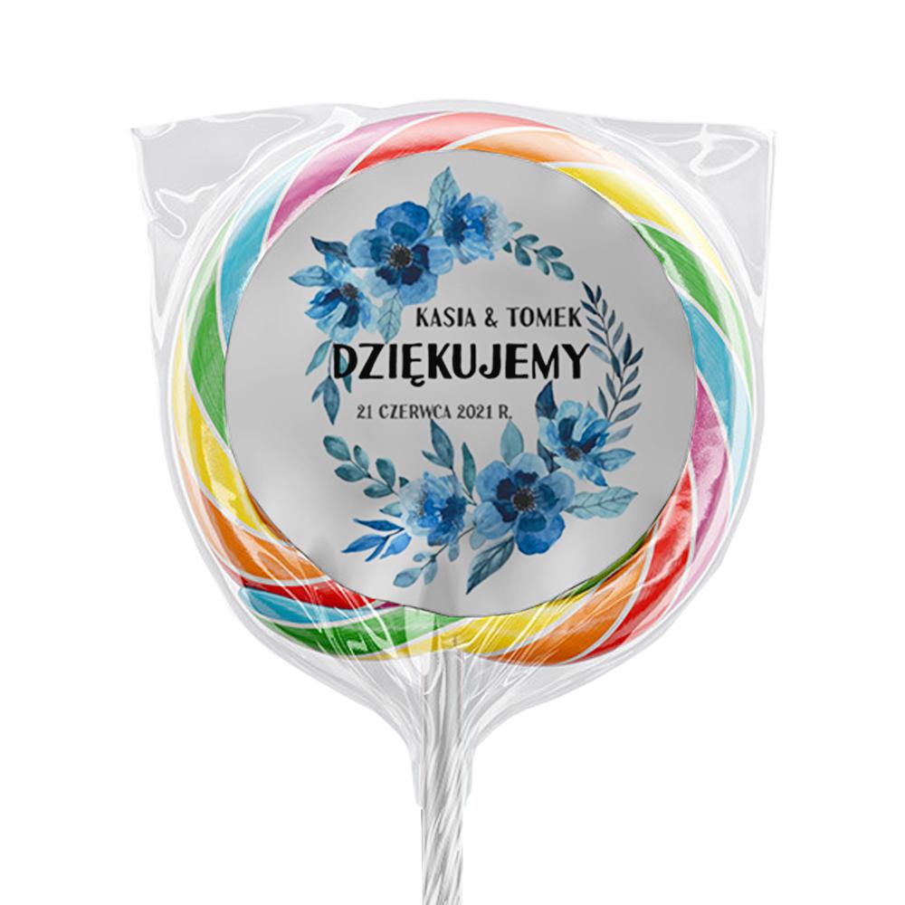 Naklejki na lizaki etykiety samoprzylepne na ślub z imionami podziękowania dla gości niebieskie kwiaty