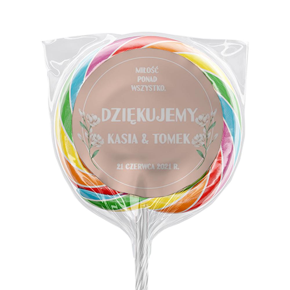 Naklejki na lizaki etykiety samoprzylepne na ślub z imionami podziękowania dla gości pudrowy róż