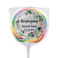 Naklejki na lizaki etykiety samoprzylepne na ślub z imionami podziękowania dla gości kwiaty boho akwarele
