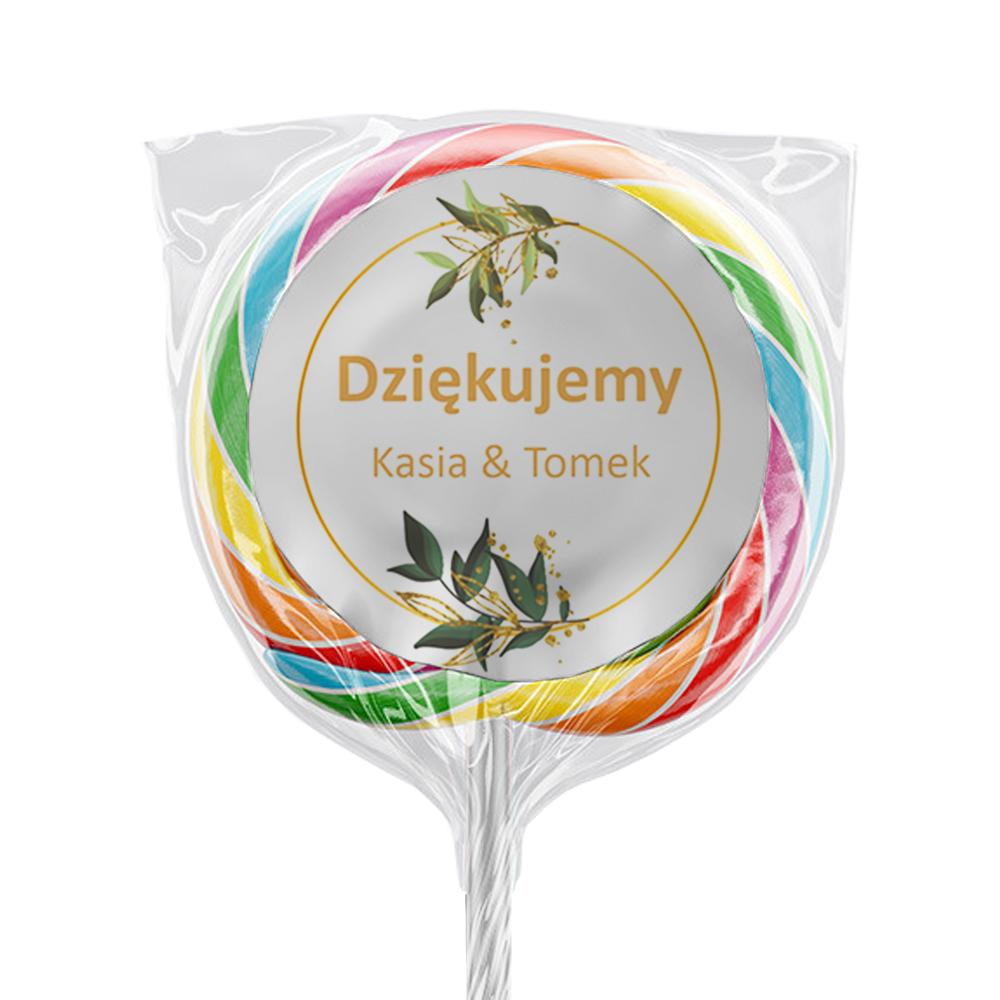 Naklejki na lizaki etykiety samoprzylepne na ślub z imionami podziękowania dla gości boho gałązki rustykalne