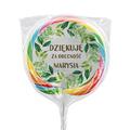 Naklejki na lizaki etykiety samoprzylepne na komunię z imieniem podziękowania dla gości botaniczne liście