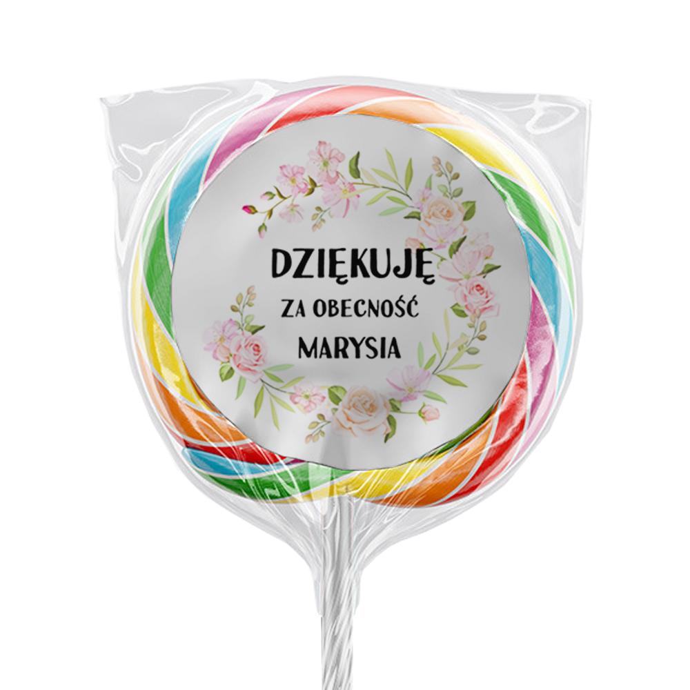 Naklejki na lizaki etykiety samoprzylepne na komunię z imieniem podziękowania dla gości kwiatowe