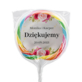 Naklejki na lizaki etykiety samoprzylepne na ślub z imieniem podziękowania dla gości imiona motyw różany