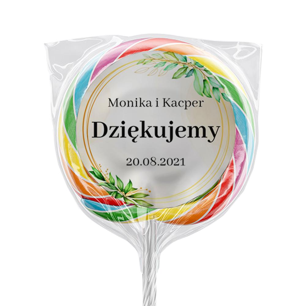 Naklejki na lizaki etykiety samoprzylepne na ślub z imieniem podziękowania dla gości imiona rustykalne botaniczne