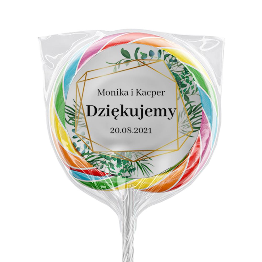 Naklejki na lizaki etykiety samoprzylepne na ślub z imieniem podziękowania dla gości geometryczne rustykalne liście zielone złote