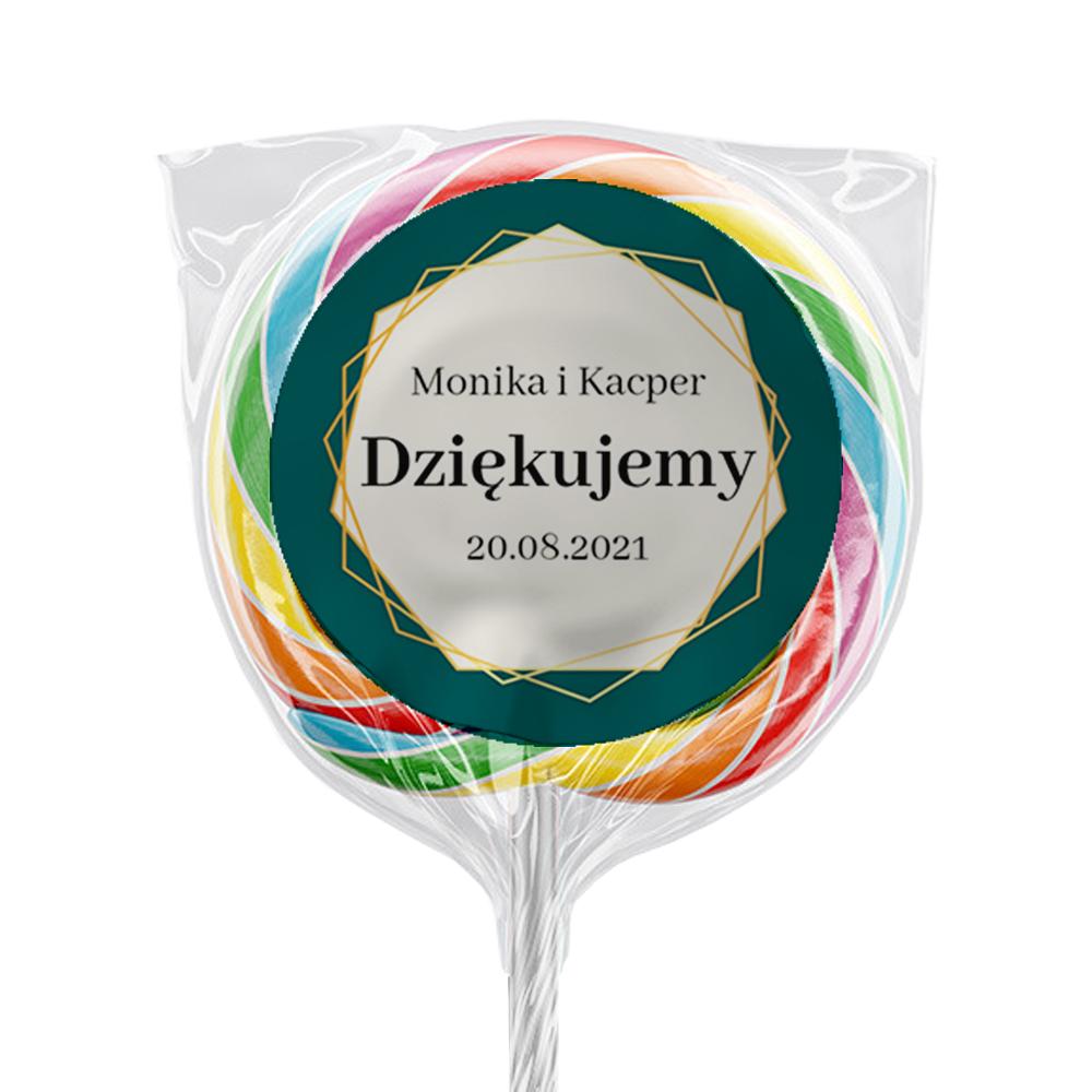 Naklejki na lizaki etykiety samoprzylepne na ślub z imieniem podziękowania dla gości geometryczne złote glamour butelkowa zieleń