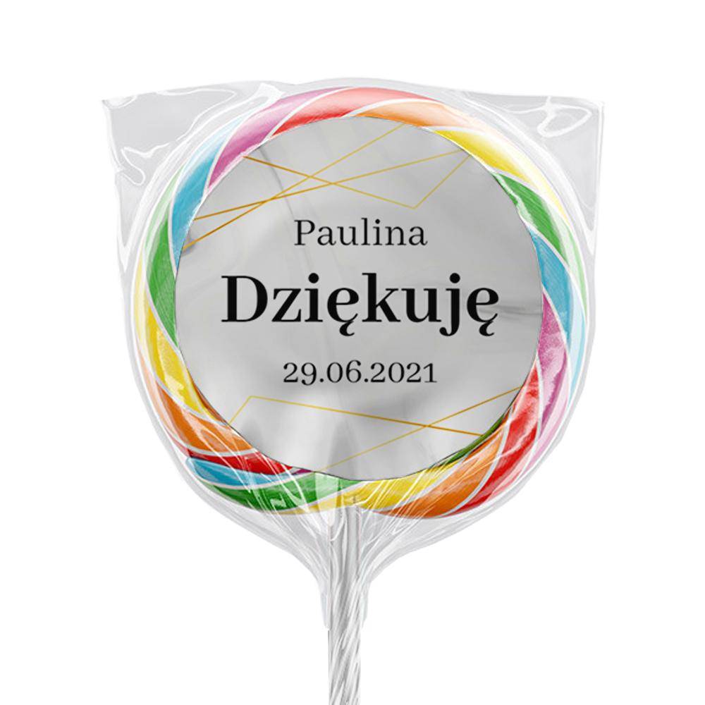 Naklejki na lizaki etykiety samoprzylepne na komunię z imieniem podziękowania dla gości złote geometryczne glamour