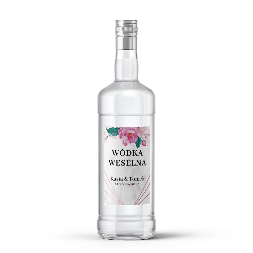 Etykiety naklejki na wódkę weselną alkohol geometryczne złote serce