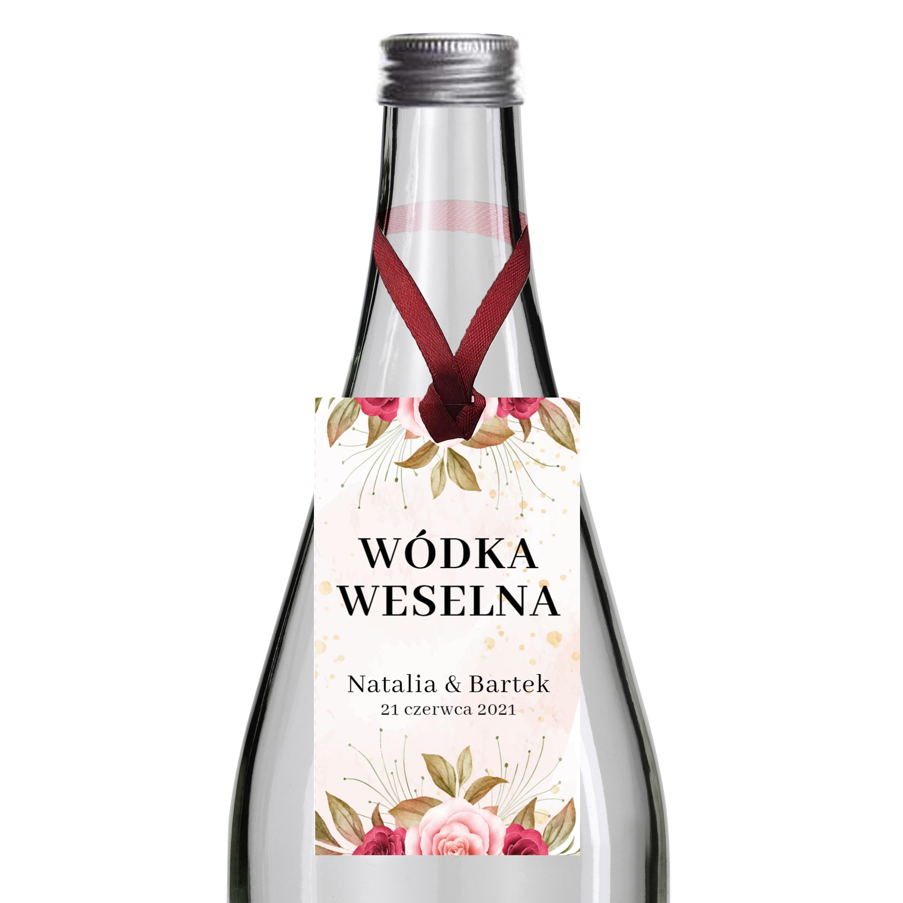 Zawieszki na alkohol wódkę weselną z imionami własny tekst różany motyw