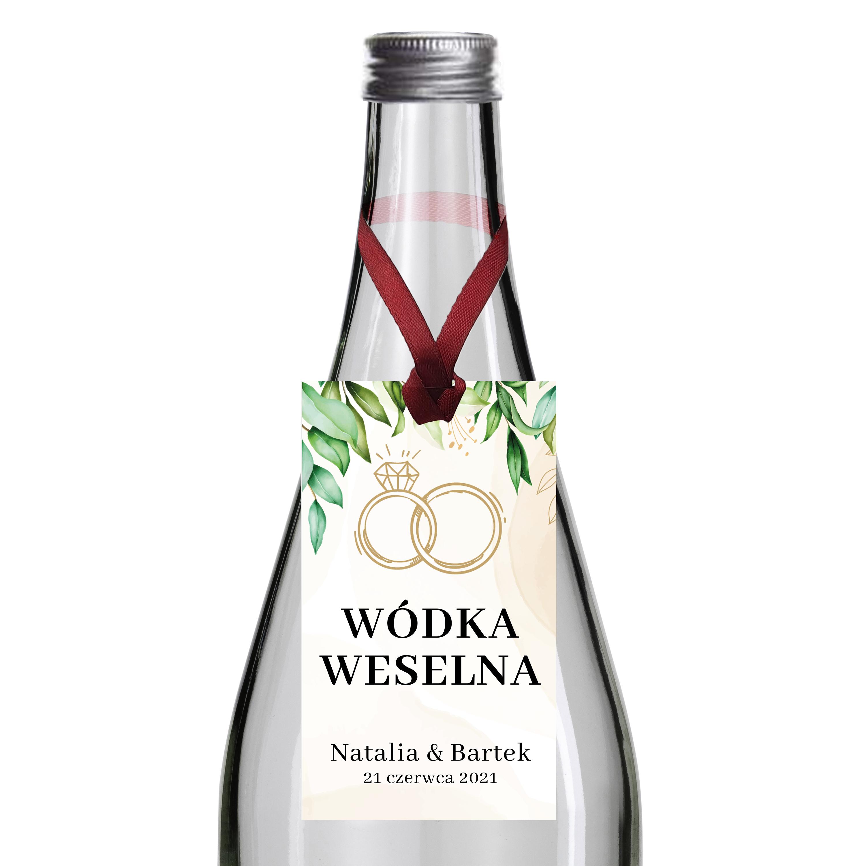 Zawieszki na alkohol wódkę weselną z imionami własny tekst  rustykalne zielone liście