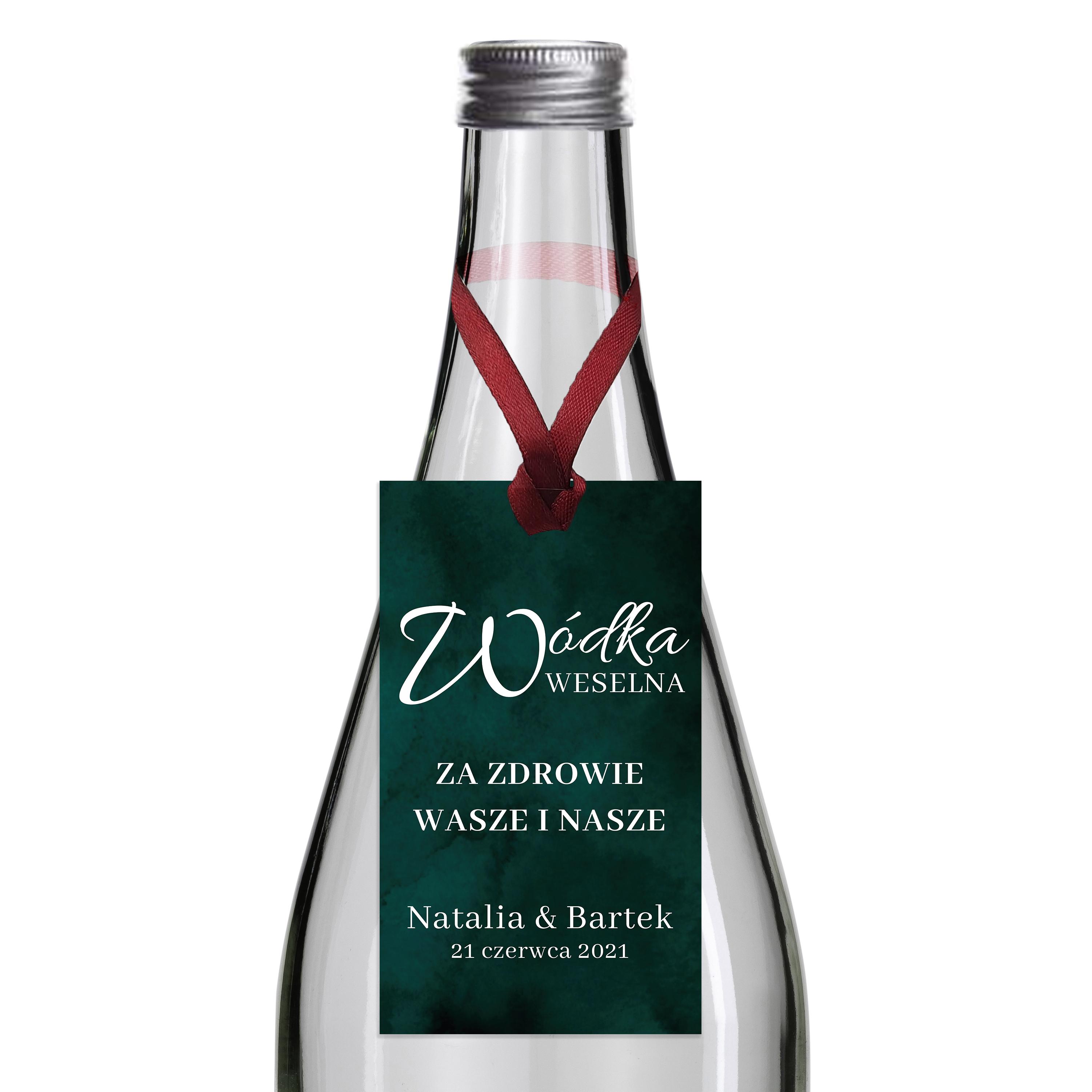 Zawieszki na alkohol wódkę weselną z imionami własny tekst butelkowa zieleń