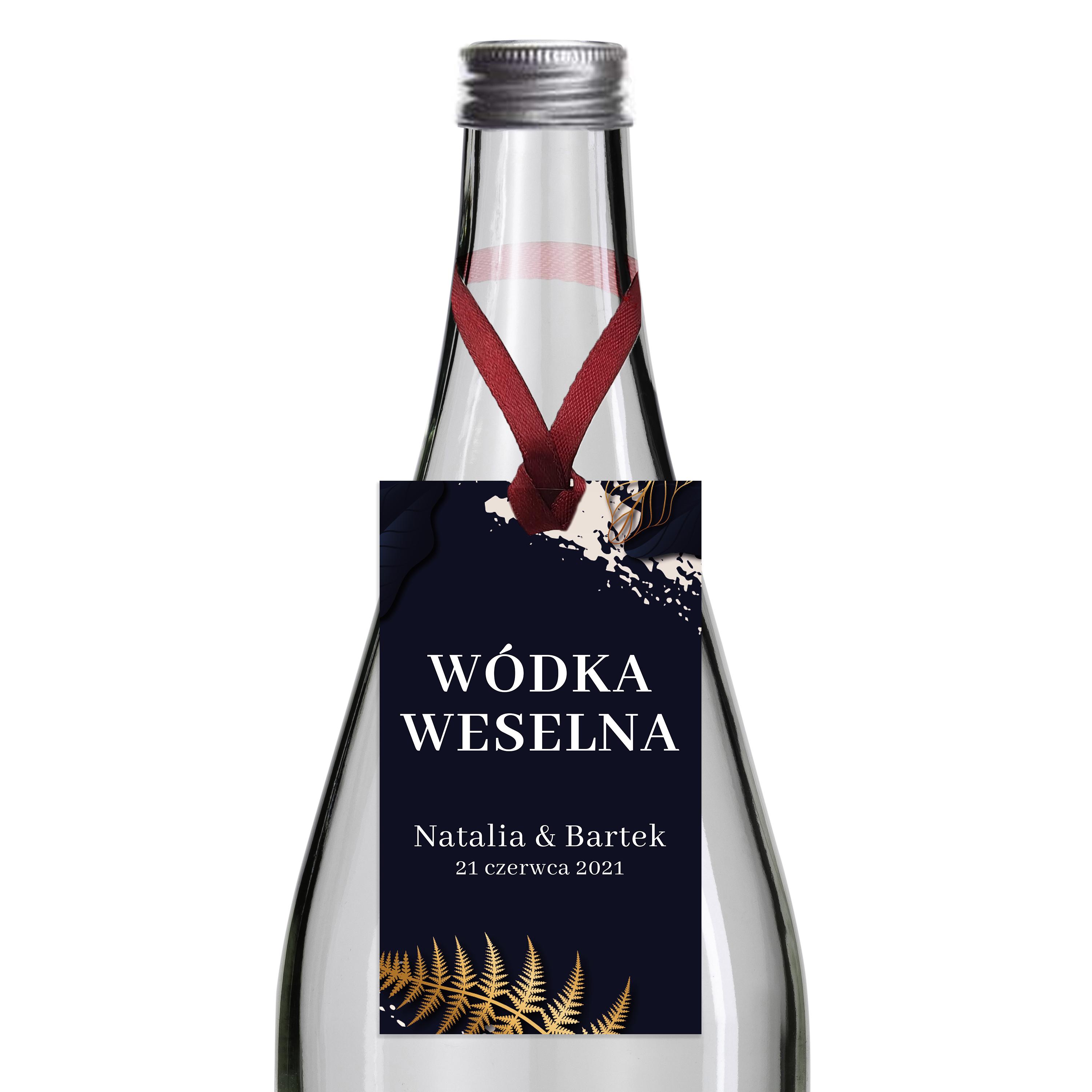 Zawieszki na alkohol wódkę weselną z imionami własny tekst złote granatowe glamour