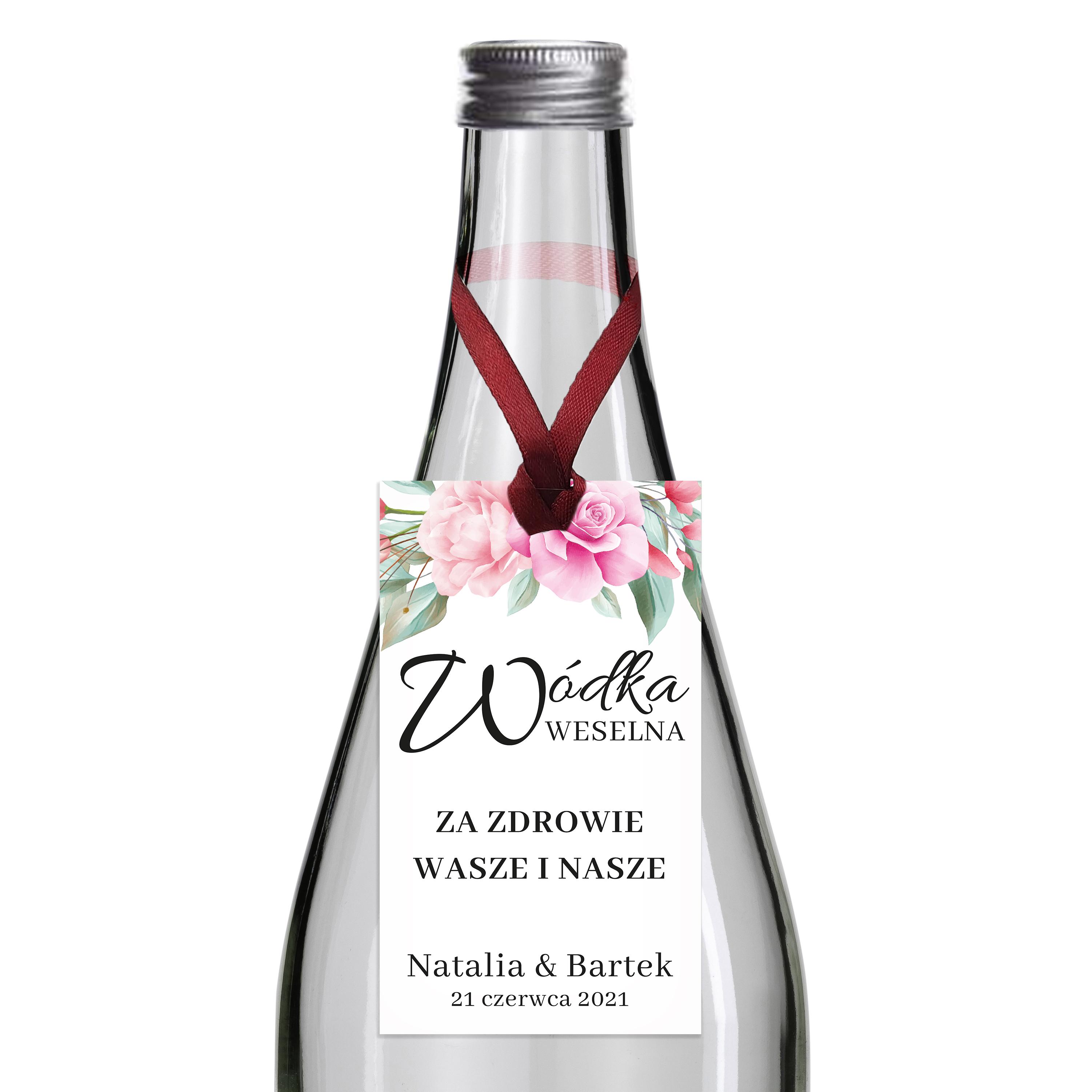 Zawieszki na alkohol wódkę weselną z imionami własny tekst kwiatowe glamour