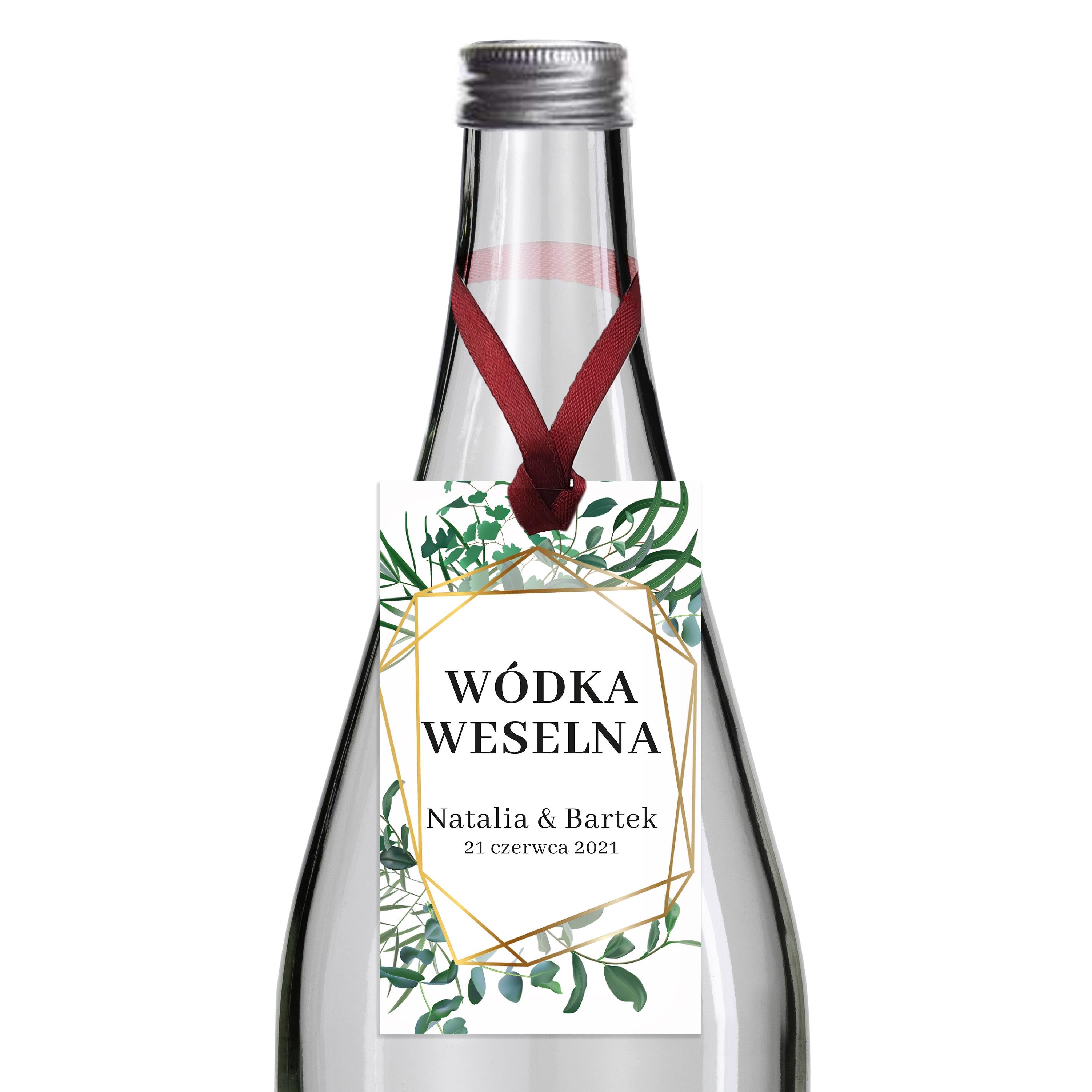 Zawieszki na alkohol wódkę weselną z imionami własny tekst geometryczne rustykalne liście zielone złote