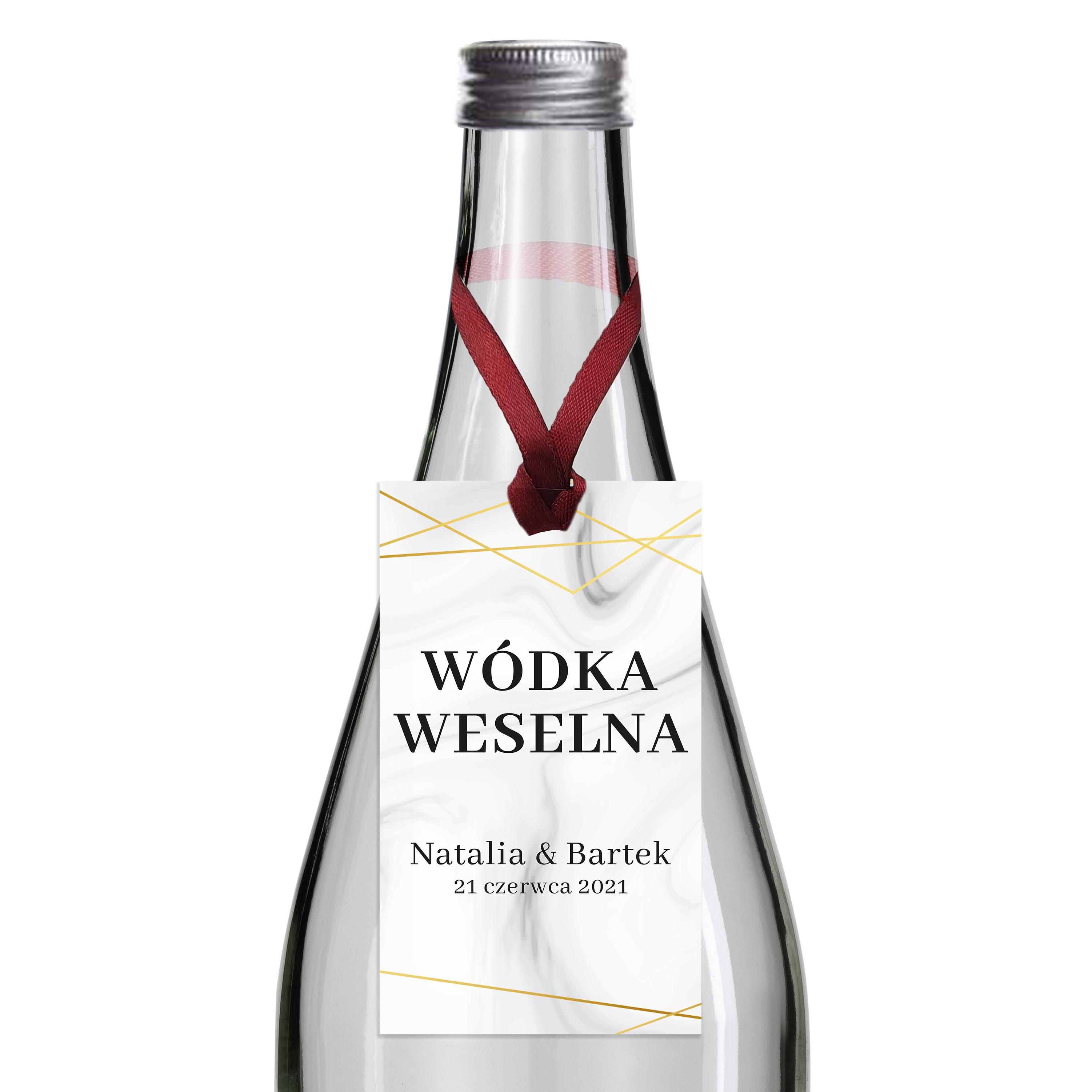 Zawieszki na alkohol wódkę weselną z imionami własny tekst geometryczne złote glamour