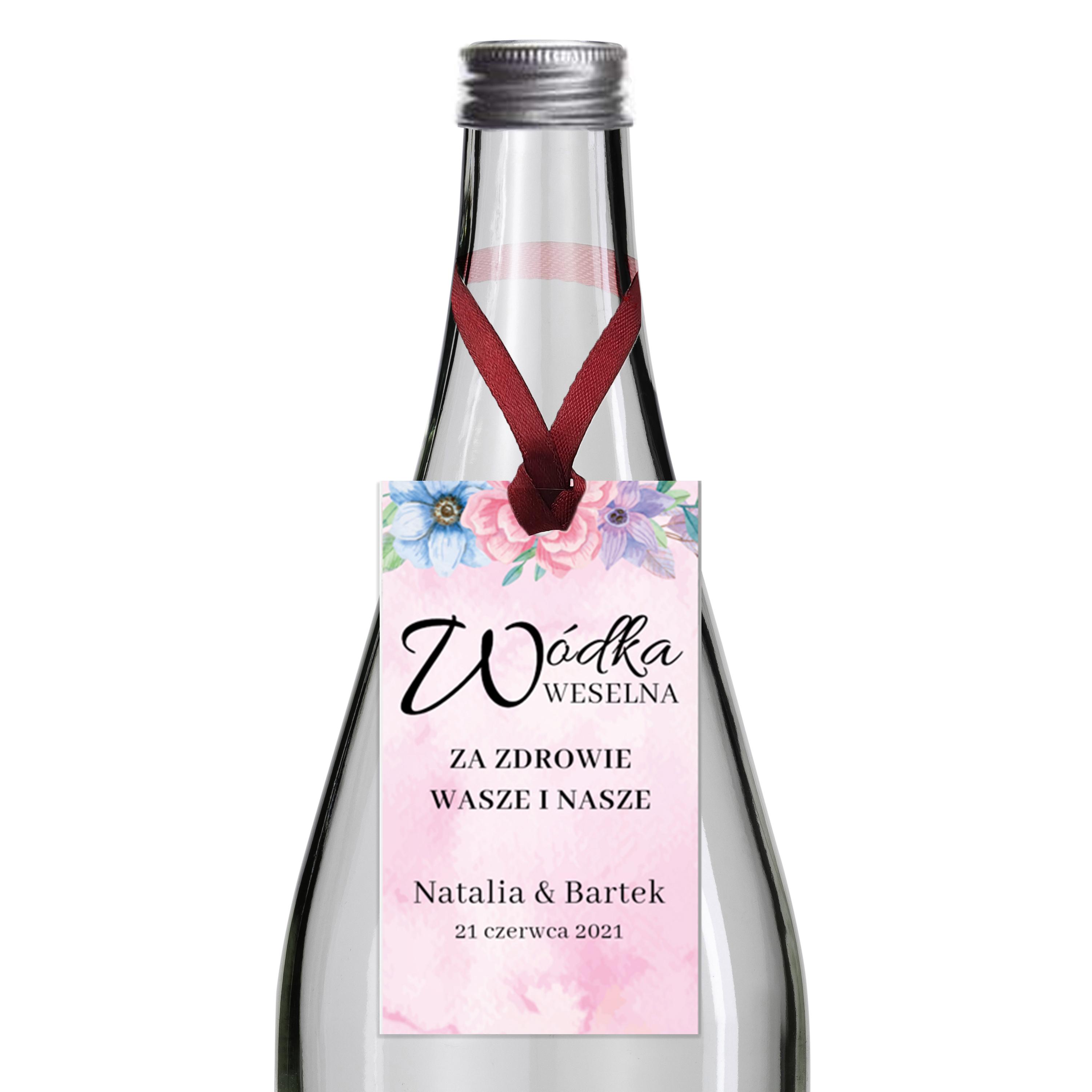 Zawieszki na alkohol wódkę weselną z imionami własny tekst kwiatowe kolorowe