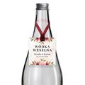 Zawieszki na alkohol wódkę weselną kwadratowe z imionami własny tekst rózany motyw