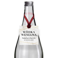 Zawieszki na alkohol wódkę weselną kwadratowe z imionami własny tekst geometryczne złote glamour