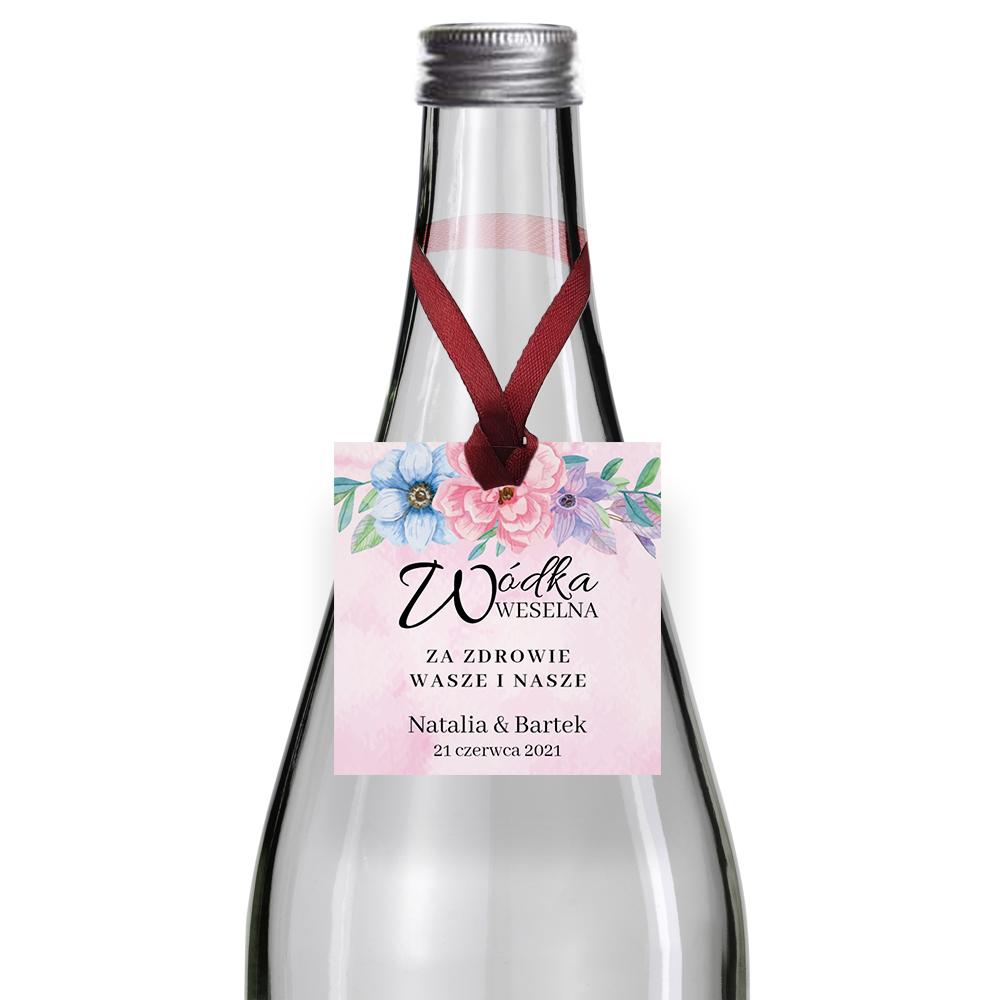 Zawieszki na alkohol wódkę weselną kwadratowe z imionami własny kwiatowe kolorowe