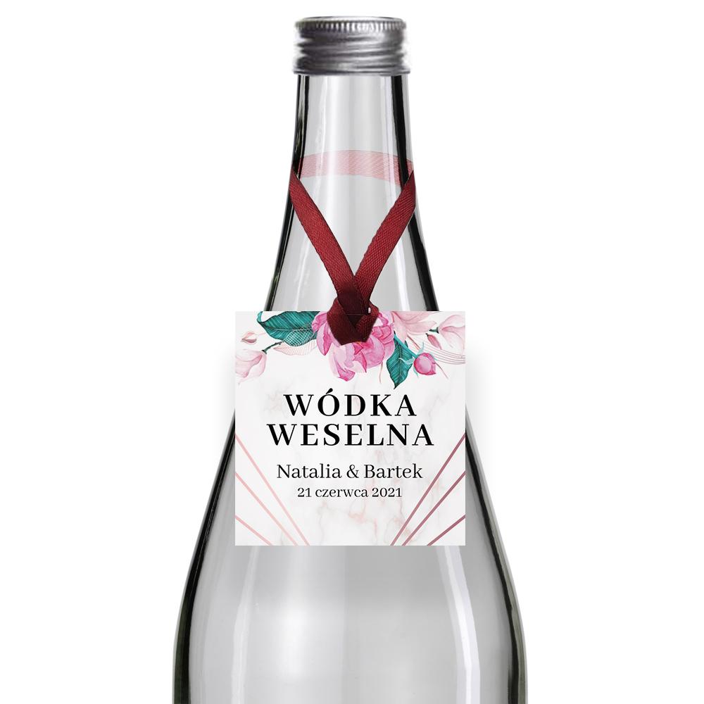 Zawieszki na alkohol wódkę weselną kwadratowe z imionami własny geometryczne kwiaty serce