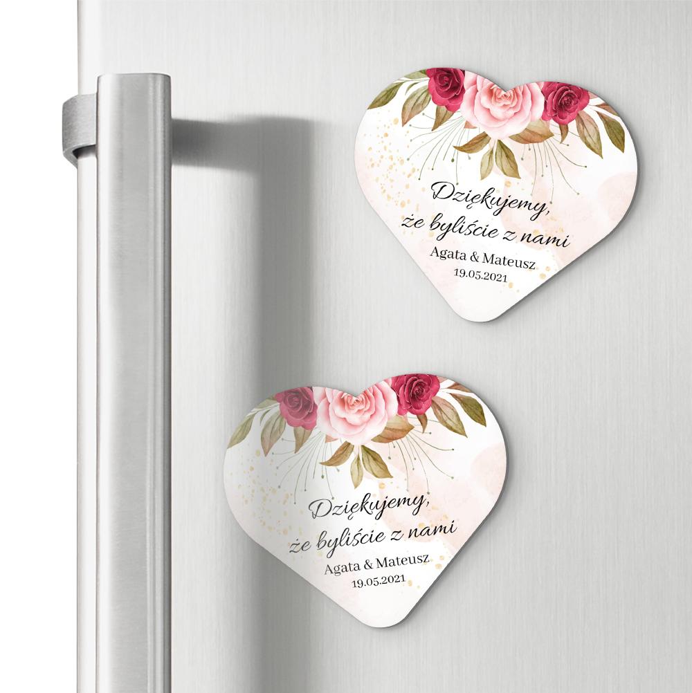 Magnesy ślubne podziękowania dla gości serce różany motyw