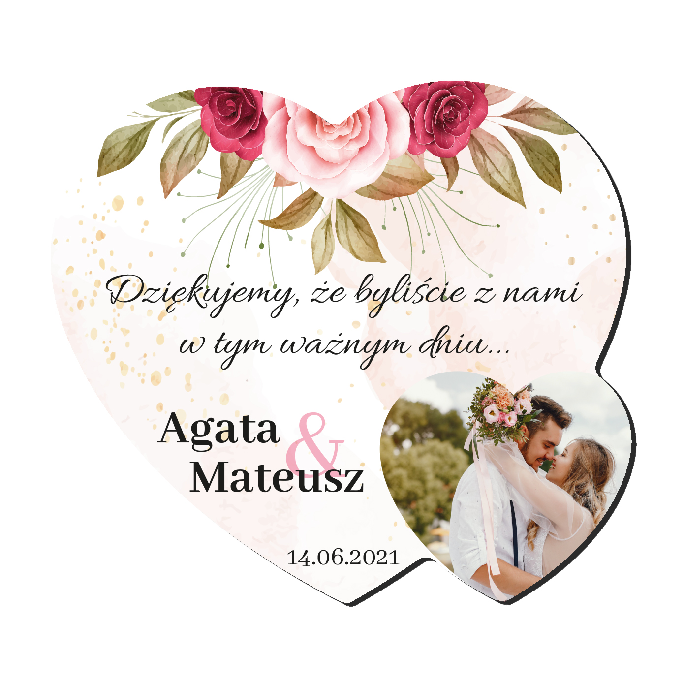 Foto Magnes podziękowania dla gości ślub wesele imiona serce różany motyw