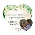 Foto Magnes podziękowania dla gości ślub wesele imiona serce rustykalne zielone liście