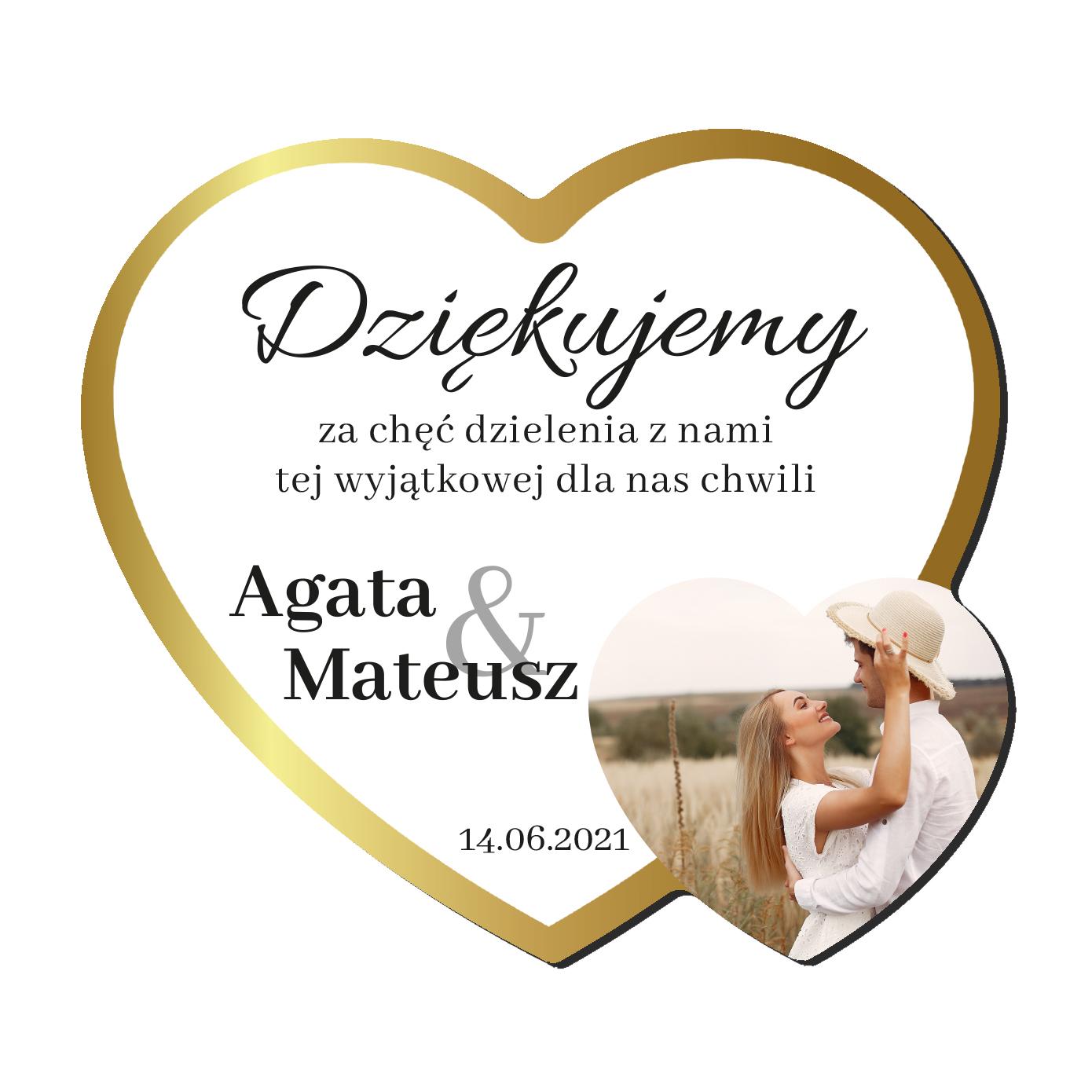 Foto Magnes podziękowania dla gości ślub wesele imiona serce złote glamour