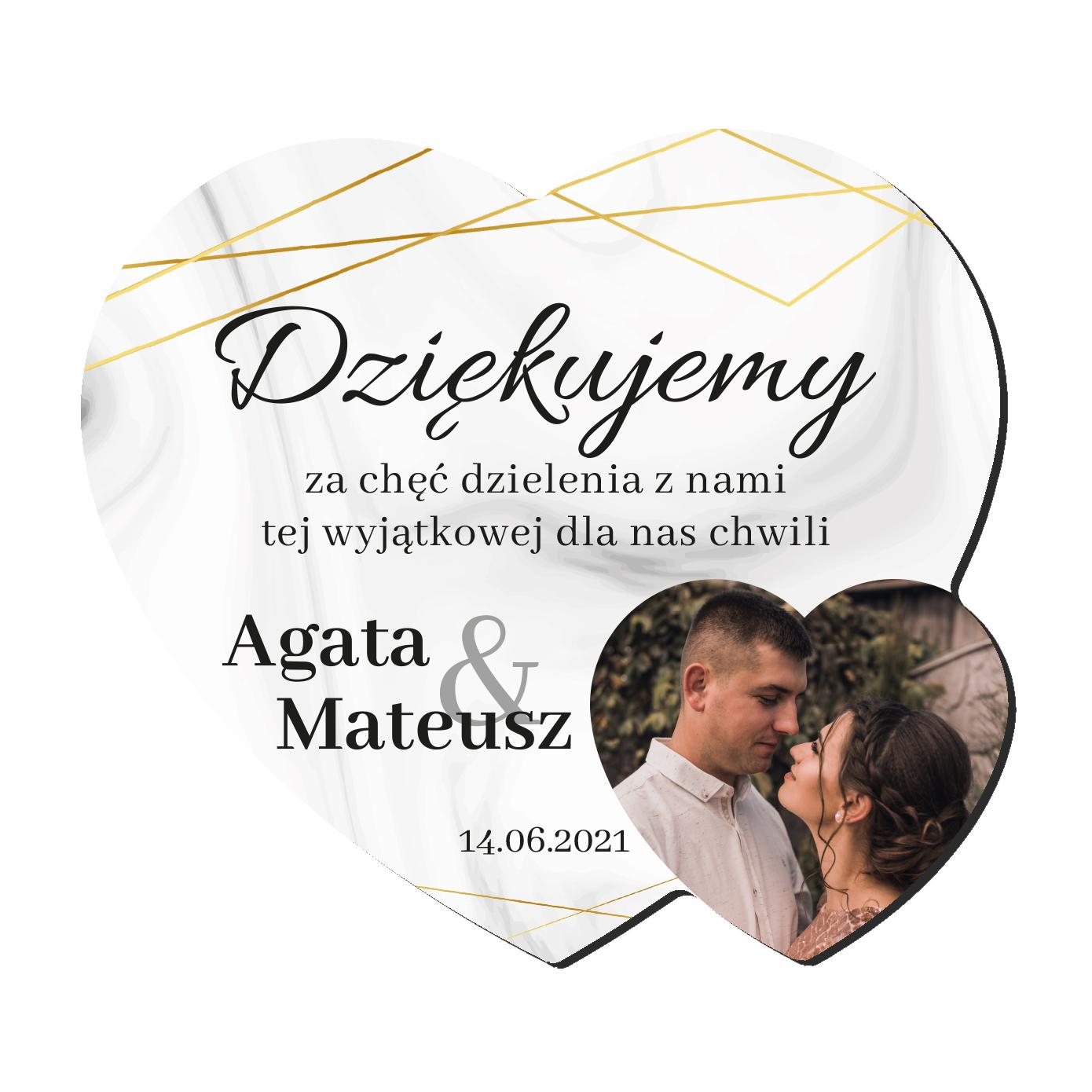 Foto Magnes podziękowania dla gości ślub wesele imiona serce marmur złote glamour