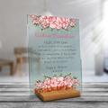 Przezroczyste PLEXI NADRUK podziękowania dla dziadków różowe kwiatowe
