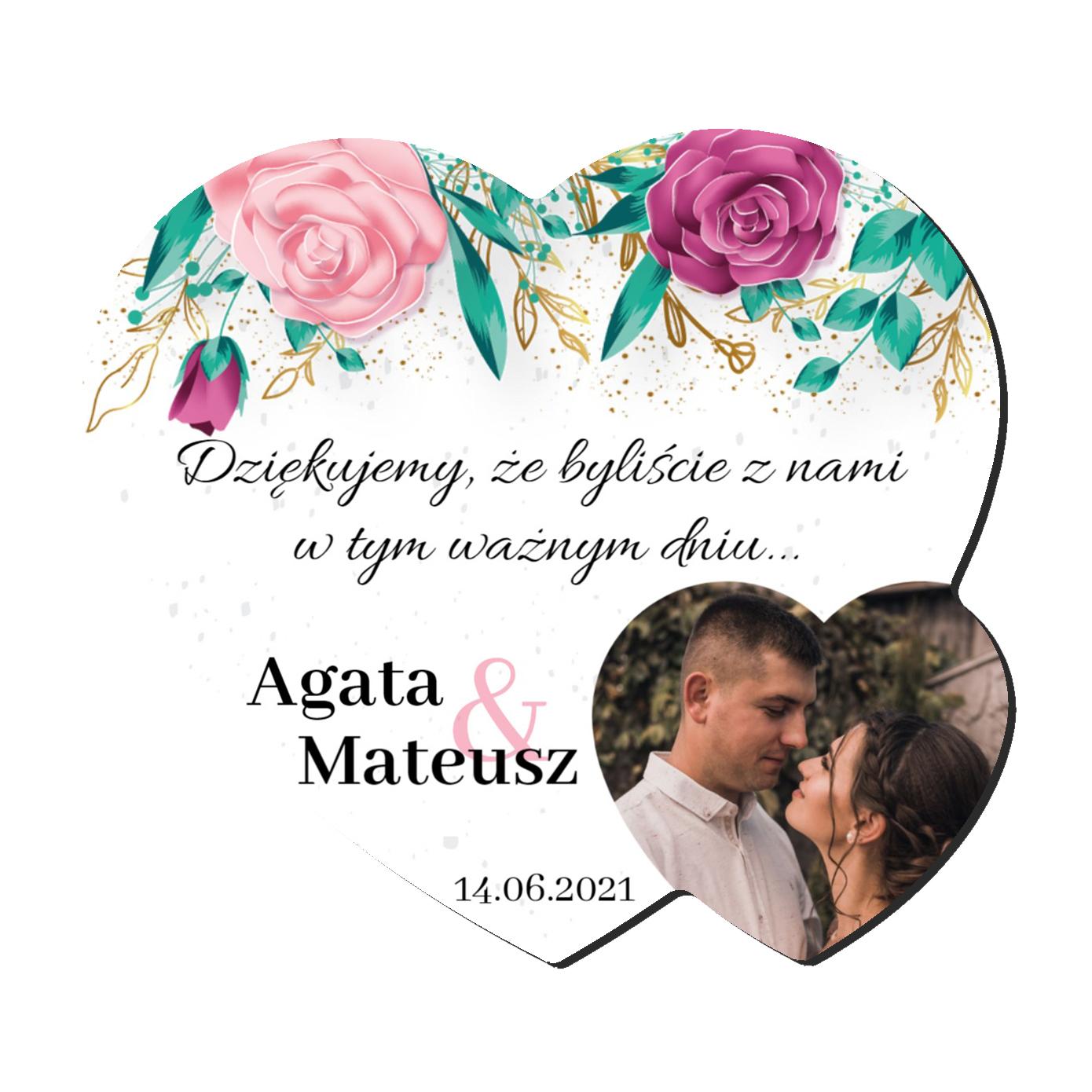 Foto Magnes podziękowania dla gości ślub wesele imiona serce geometryczne kwiatowy rustykalny