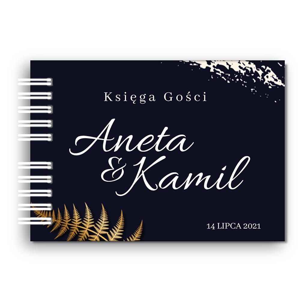Księga Gości weselnych personalizowana ślub wesele 80 stron A4+ złota granatowa glamour