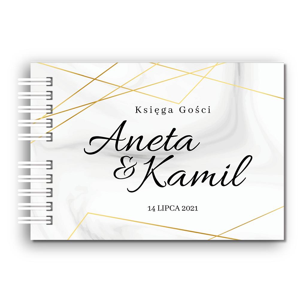 Księga Gości weselnych personalizowana ślub wesele 80 stron A4+ geometryczna złota glamour