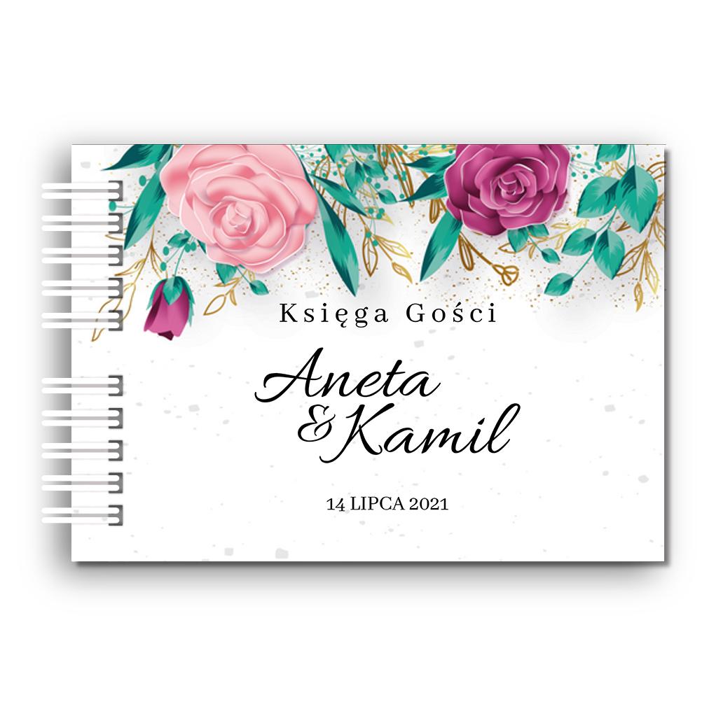 Księga Gości weselnych personalizowana ślub wesele 80 stron A4+ kwiatowa złoto glamour